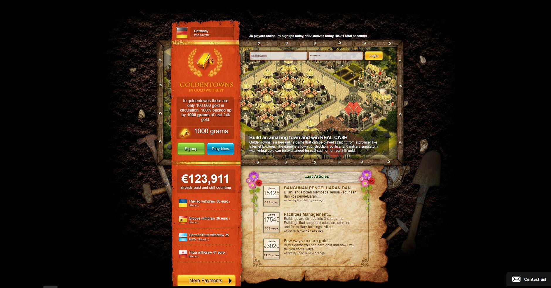 Geld verdienen mit Browsergames - Goldentown