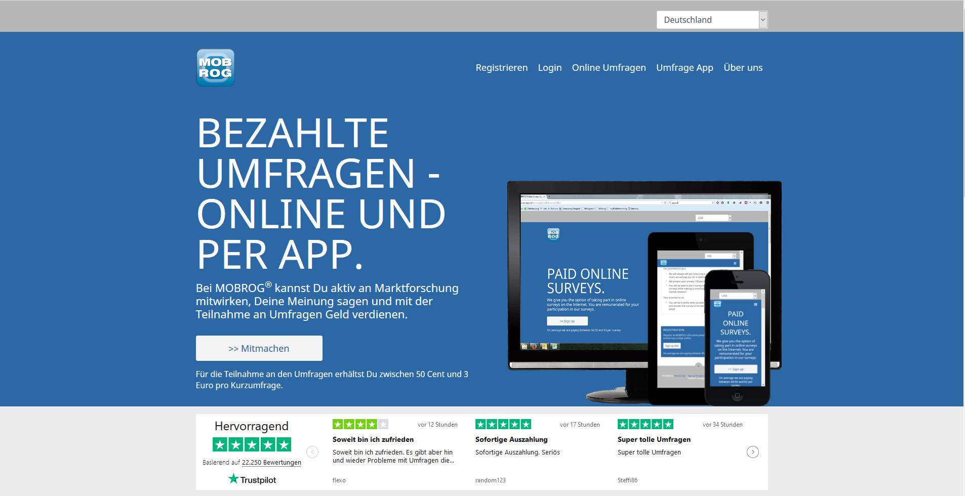 Mobrog Erfahrungen - Die Homepage