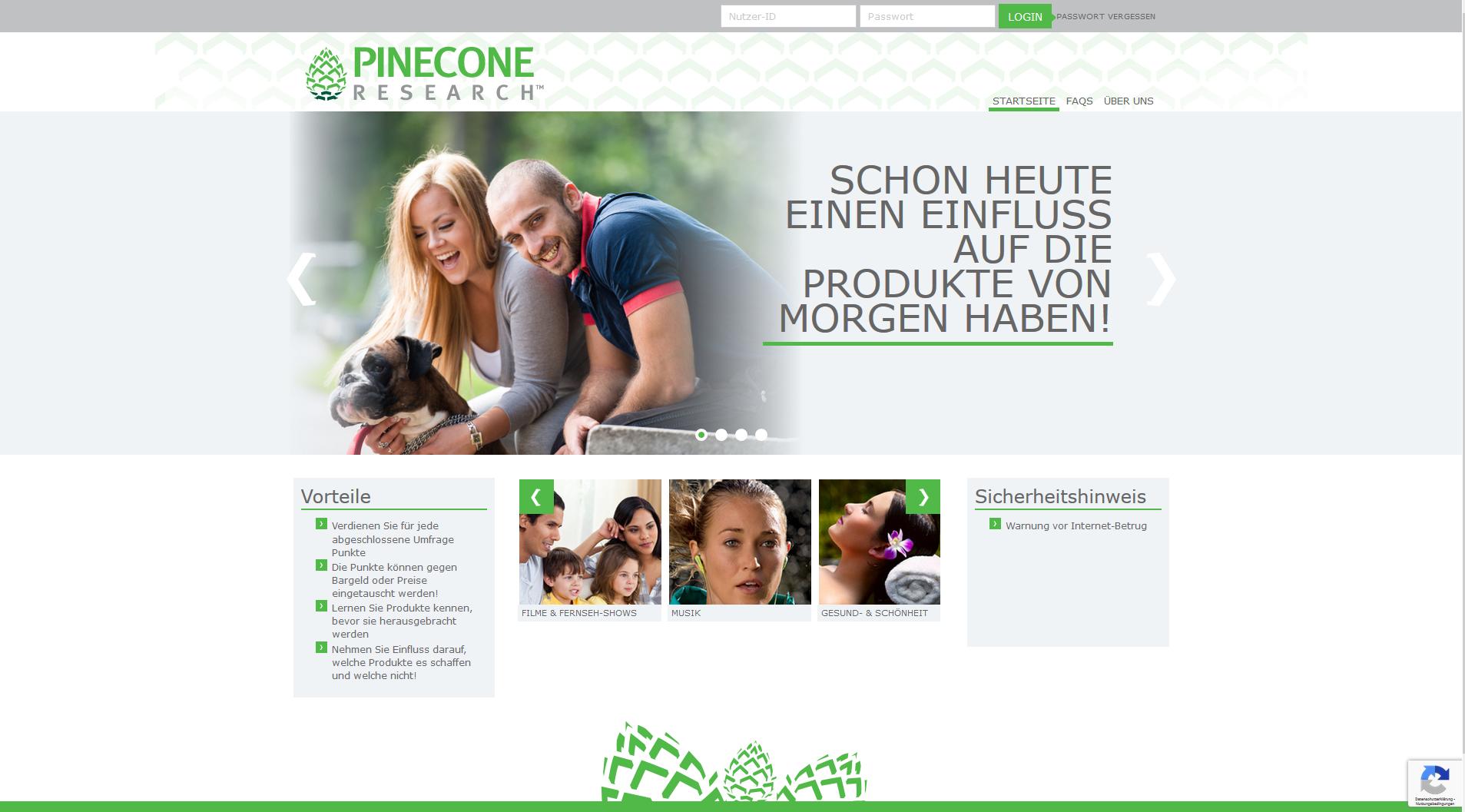 Pinecone Research Erfahrungen - Die Homepage
