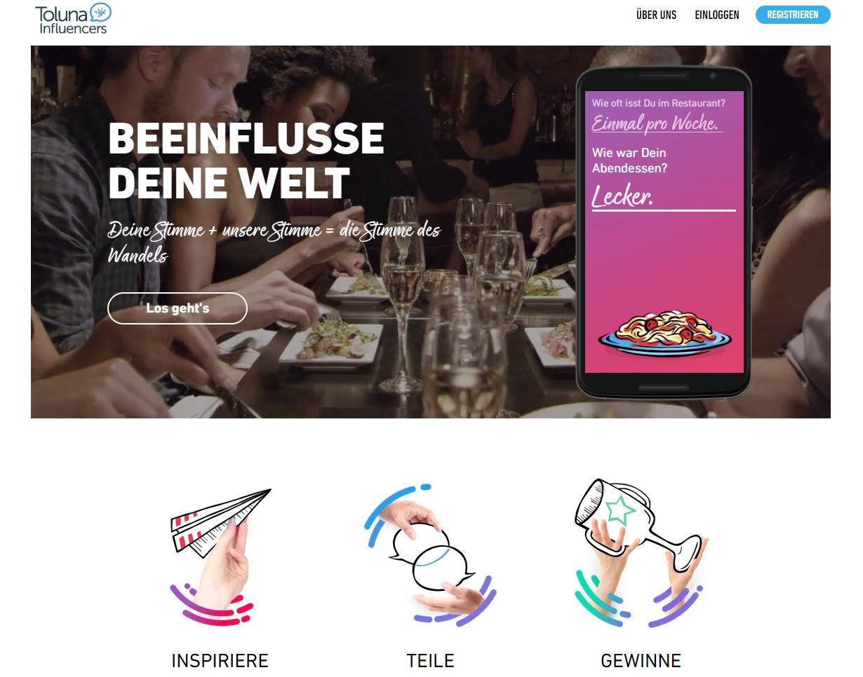 Toluna Erfahrungen - Die Homepage