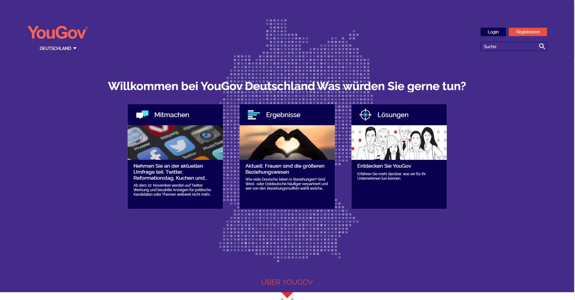 YouGov Erfahrungen - Die Homepage